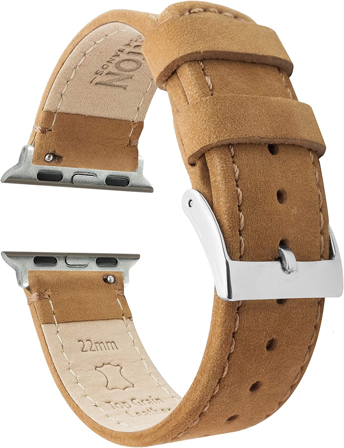 Barton Top Grain Leather Watch Bands Compatible with All Apple Watch Models - Series 5, 4, 3, 2 & 1 - Size 38mm, 40mm, 42mm or 44mm