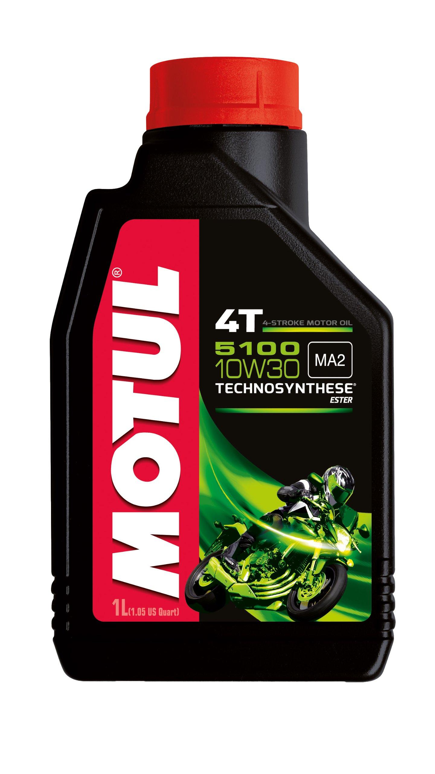 Motul 104062 5100 4T Hybrid 10W-30 API SM Technosynthese Semi Synthetic Engine Oil for Bikes (1 L) product image