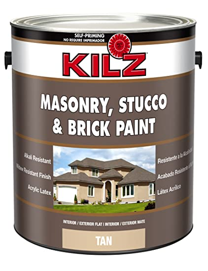 KILZ Interior/Exterior Self Priming Masonry, Stucco And Brick Flat Paint, 1