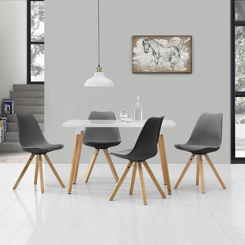 en.casa] esstisch mit 4 stühlen grau gepolstert 120x80cm ... - Esstisch Und Stuhle Esszimmer