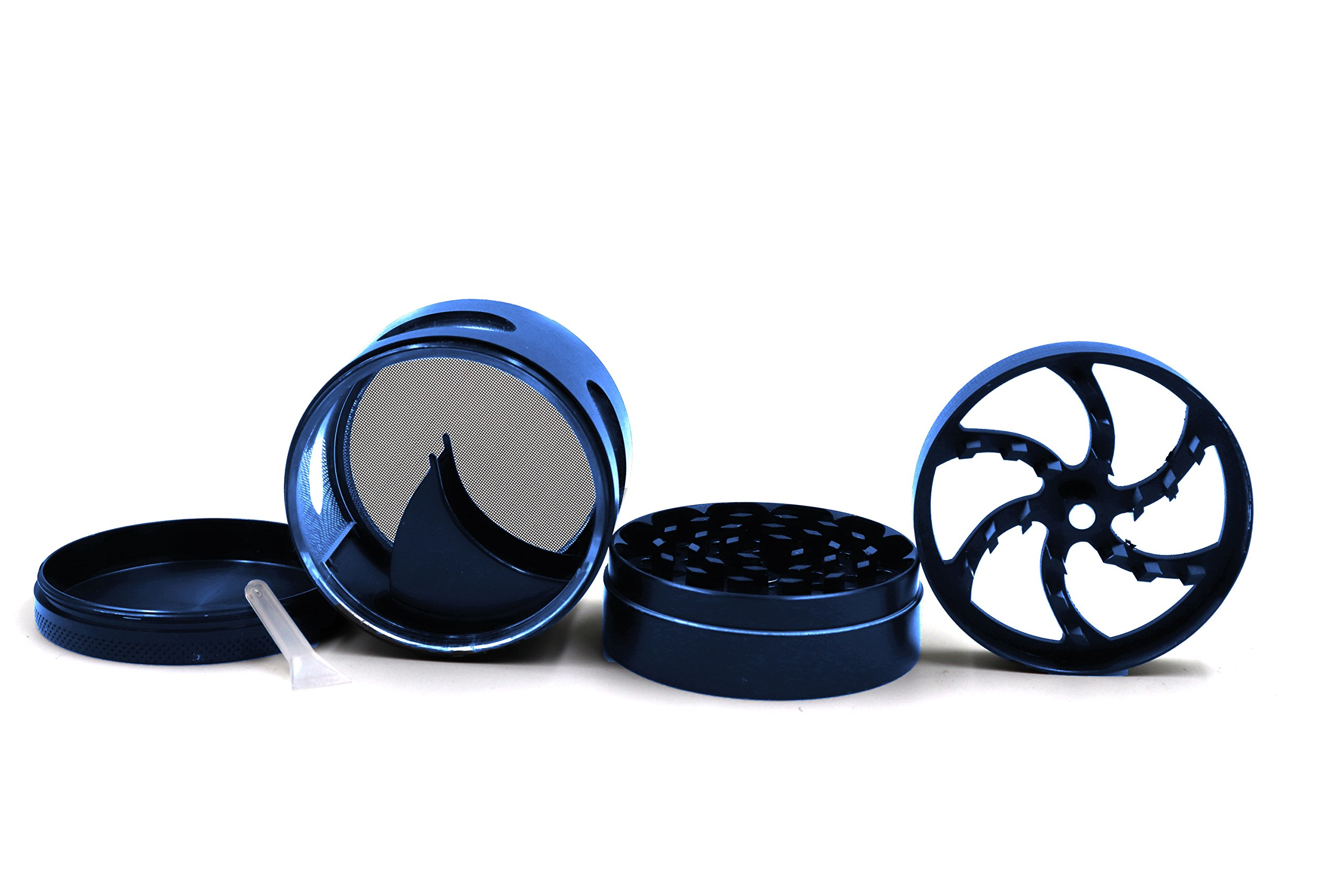 AIMAKE New Design Herb Weed& Spice 4 Piece Large 2.5 Inches Flash Windows Mills Grinder with Pollen Catcher(Blue) by aiMaKE (Image #3)