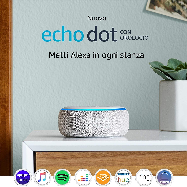 Nuovo Echo Dot (3� generazione) - Altoparlante intelligente con orologio e Alexa - Tessuto grigio chiaro: Amazon.it