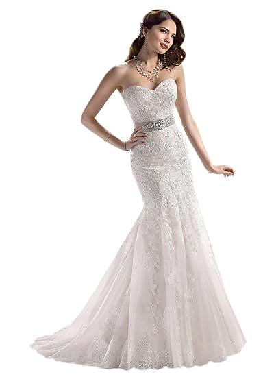 f4bf3c4a2f14 Sposarsi Off spalla pizzo sirena abito da sposa uka0001 Avorio Medium   Amazon.it  Abbigliamento