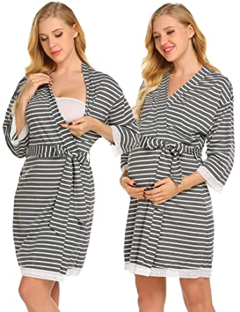 Amazoncom Ekouaer Striped Maternity Robe Pregnant Long Sleeve