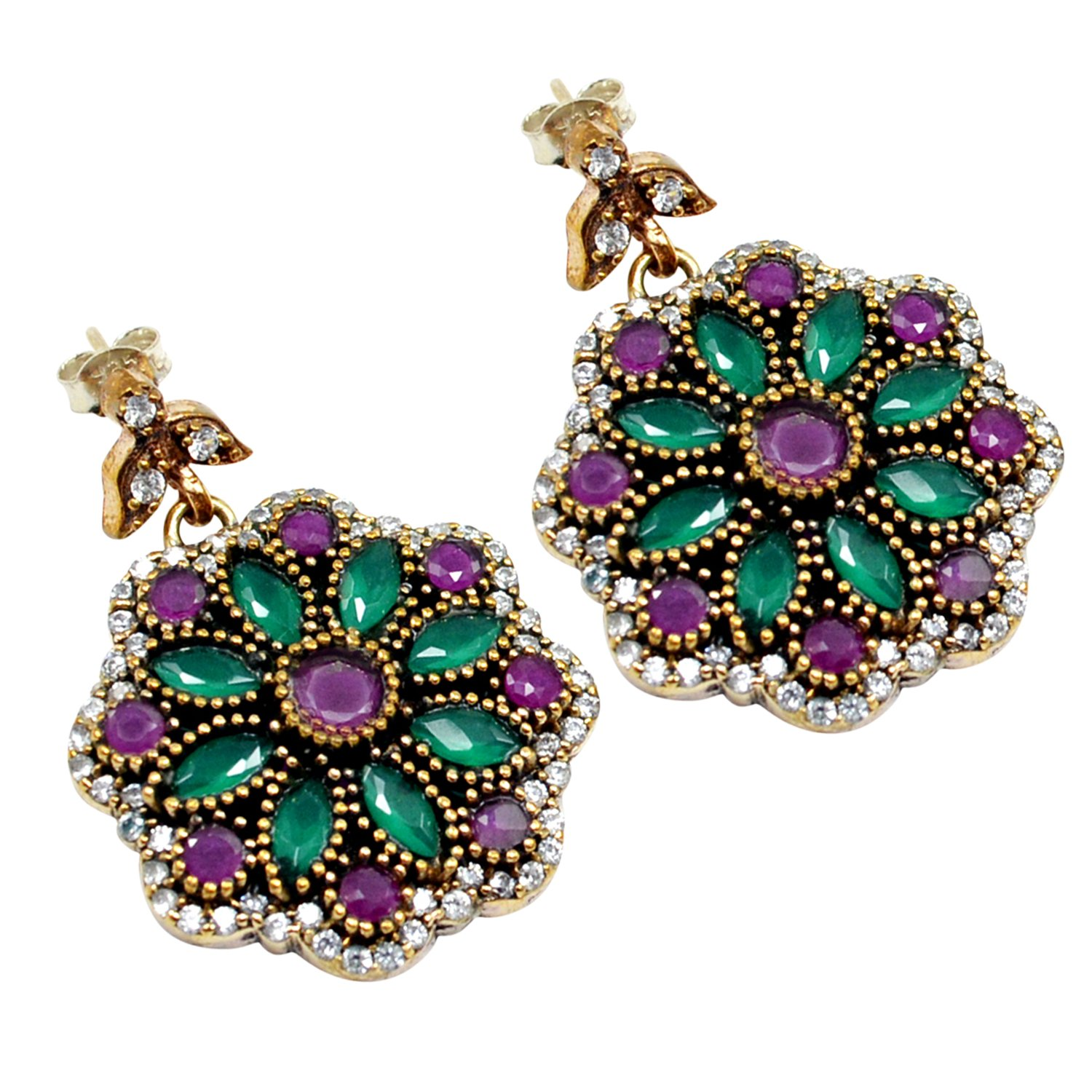 Ruby /& Topaz Lab Saamarth Impex Emerald 925 Sterling Silver With Bronze Drop /& Dangle Turkish Earring PG-104548