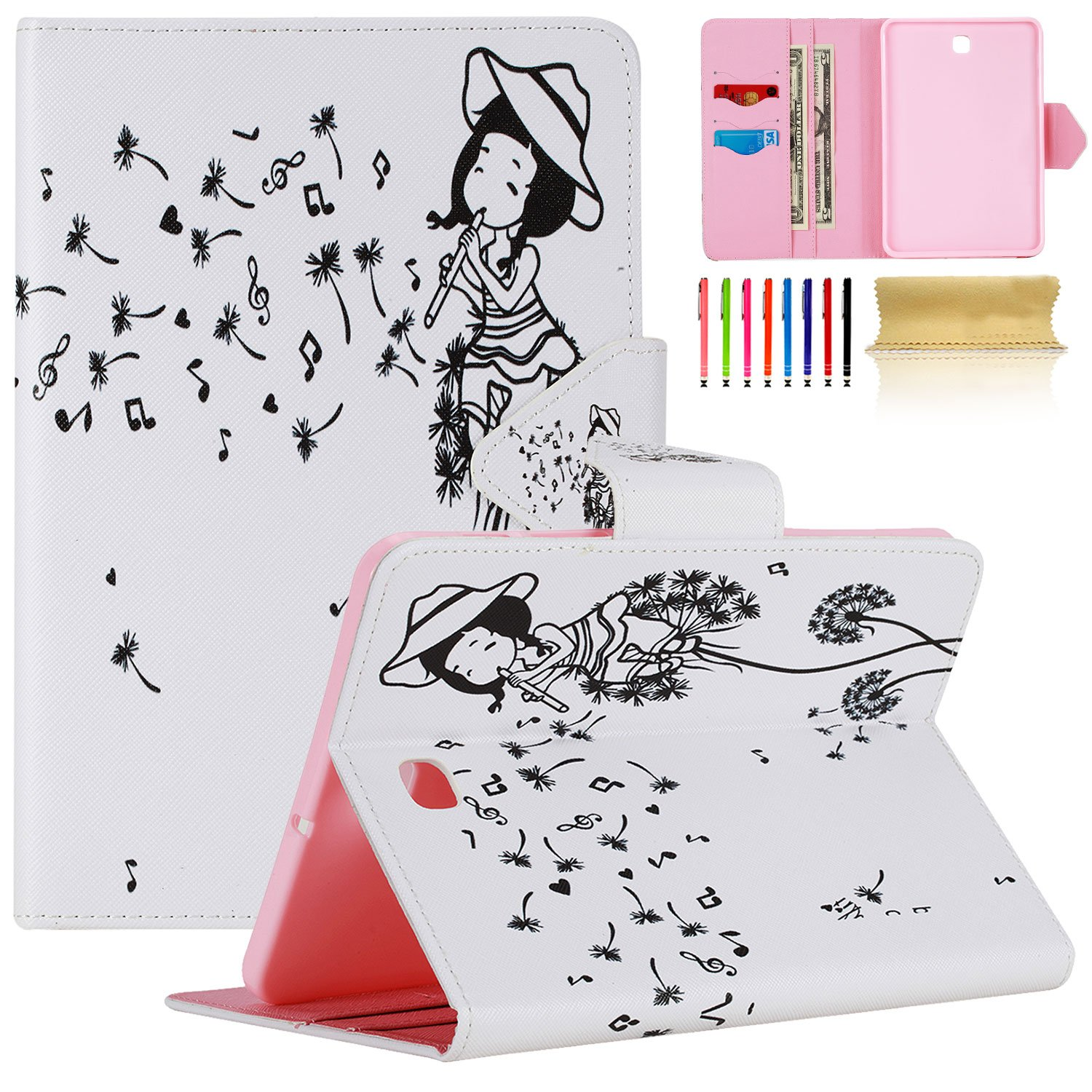 UUcovers Samsung Galaxy Tab S2 8.0 Smart Shell Stand Case, Synthetic Leather Card Holder Case [Auto Sleep/Wake] [Magnetic] Cute Cartoon Cover for Galaxy Tab S2 8.0 (SM-T710/SM-T715), Diamond Unicorn