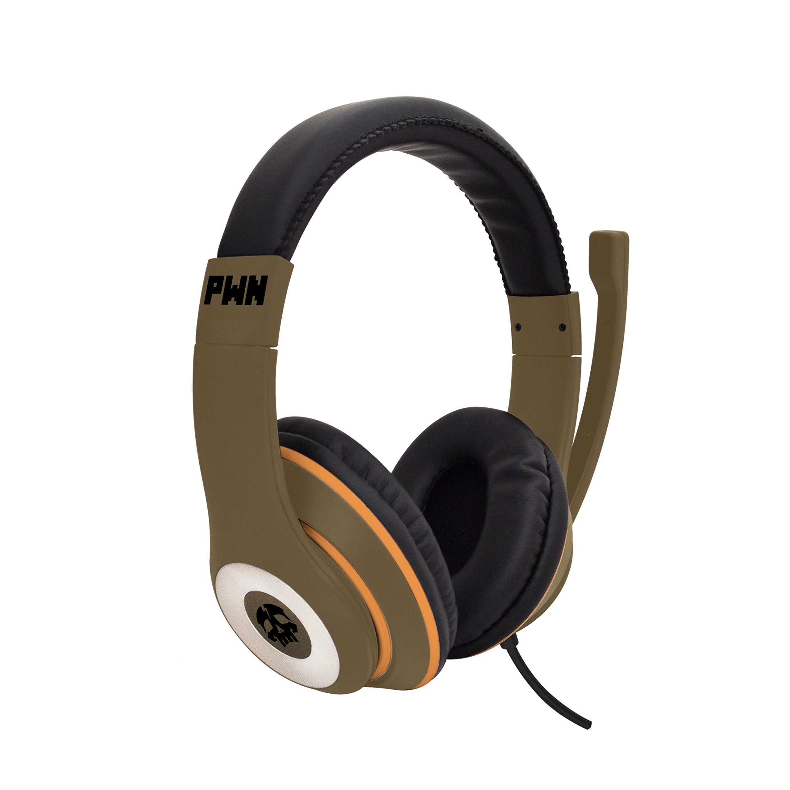 Audio Council PWN Gaming Headset with Stereo Over Ear Gamer Headphones, Adjustable Microphone, Inline Volume Control Mic PS4 PC WiiU Xbox Smartphones PC Tablets (Khaki/Gold)