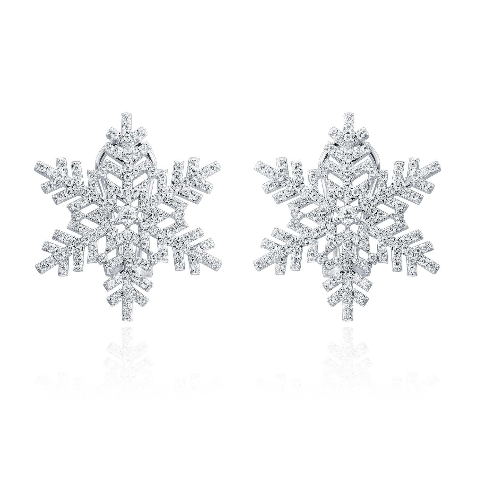 ZS Jewelry New Snowflake Stud Earring Cubic Zirconia Fashion Jewelry For Women