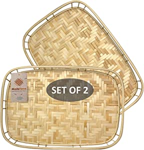 Set of 2 Pack Rectangular Bamboo Wicker Serving Trays with Handles, Handwoven Coffee Trays for Coffee, Breakfast, Bread, Food, Dish and Decorative Trays for Dining Table