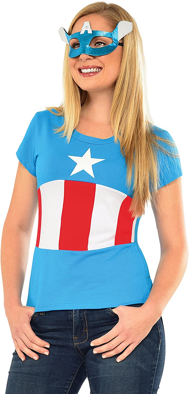 Kit disfraz de Capitán América Classic Marvel para mujer: Amazon ...