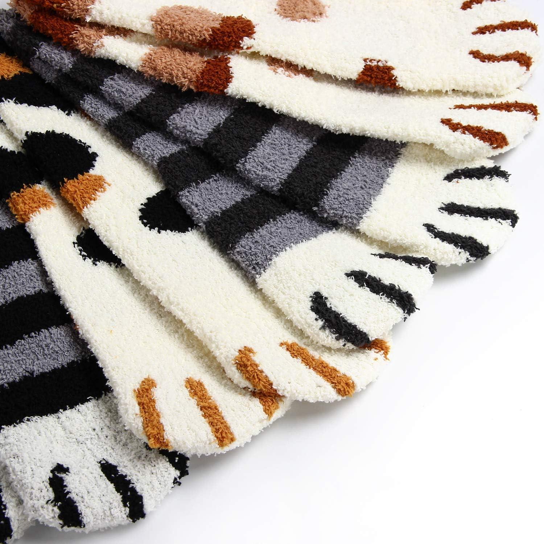CLOUSPO Slipper Socks Women Warm Fluffy Cute Cat Claws socks Anti-Skid Fleece Socks for Winter Indoor Home Sleeping