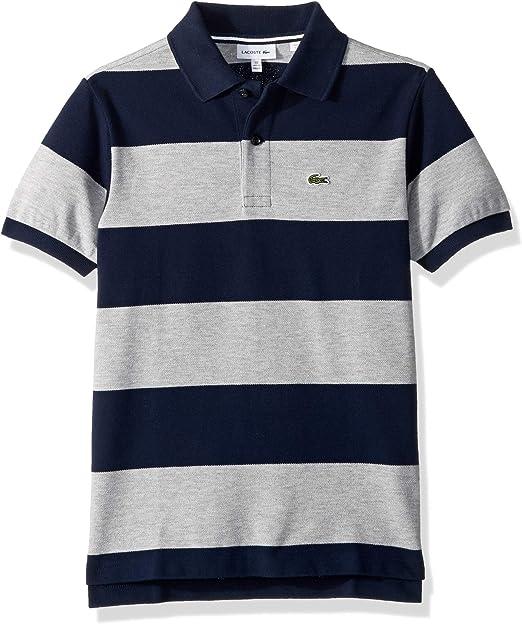 Lacoste Boy Short Sleeve Bicolor Striped Pique Polo PJ3589-51