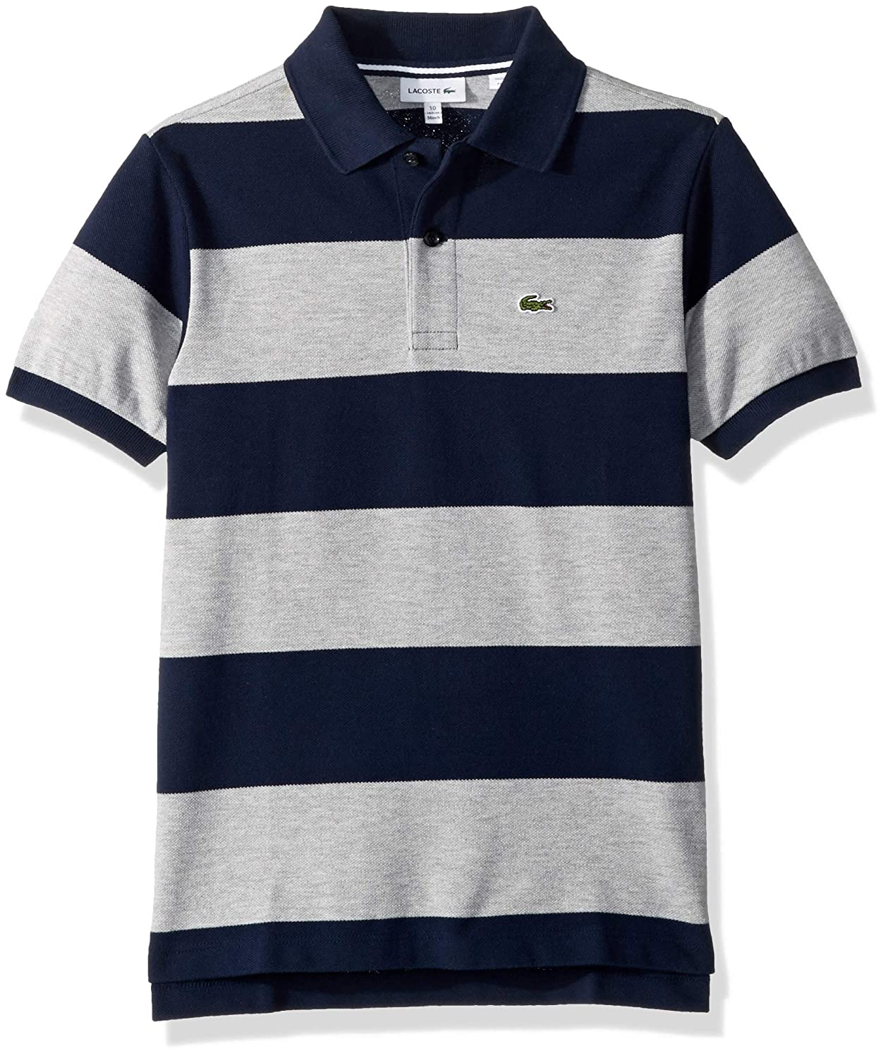 ed8b74c7 Amazon.com: Lacoste Boy Short Sleeve Bicolor Striped Pique Polo: Clothing