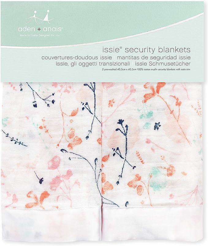 Couverture-Doudous Issie Fille et Gar/çon anais Doudou B/éb/é Doux /& Confortable Nouveaux-n/és 40 x 40 cm Gris en Mousseline 100/% Coton avec bordure en Satin Lot de 2 aden