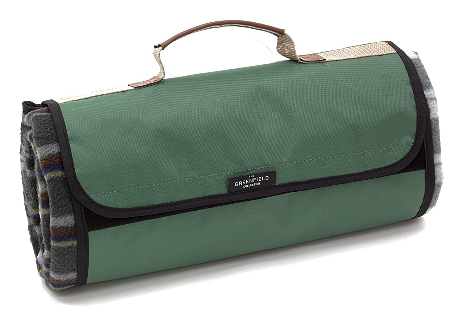 Greenfield Collection Luxury Forest Green Plaid Moisture Resistant Picnic Blanket Kondor L&G PB002H Rug Waterproof