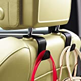 Sunferno Car Headrest Hooks 4 Pack - Stylish Back Seat Hanger for Your Purse, Grocery Bags, Handbag to Keep Them from Sliding