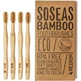 Bamboo Toothbrushes by Soseas, Recyclable & Biodegradable, BPA Free & Vegan-Friendly, Earth-Kind Products, Family 4 Pack Medium Stiff Bristles