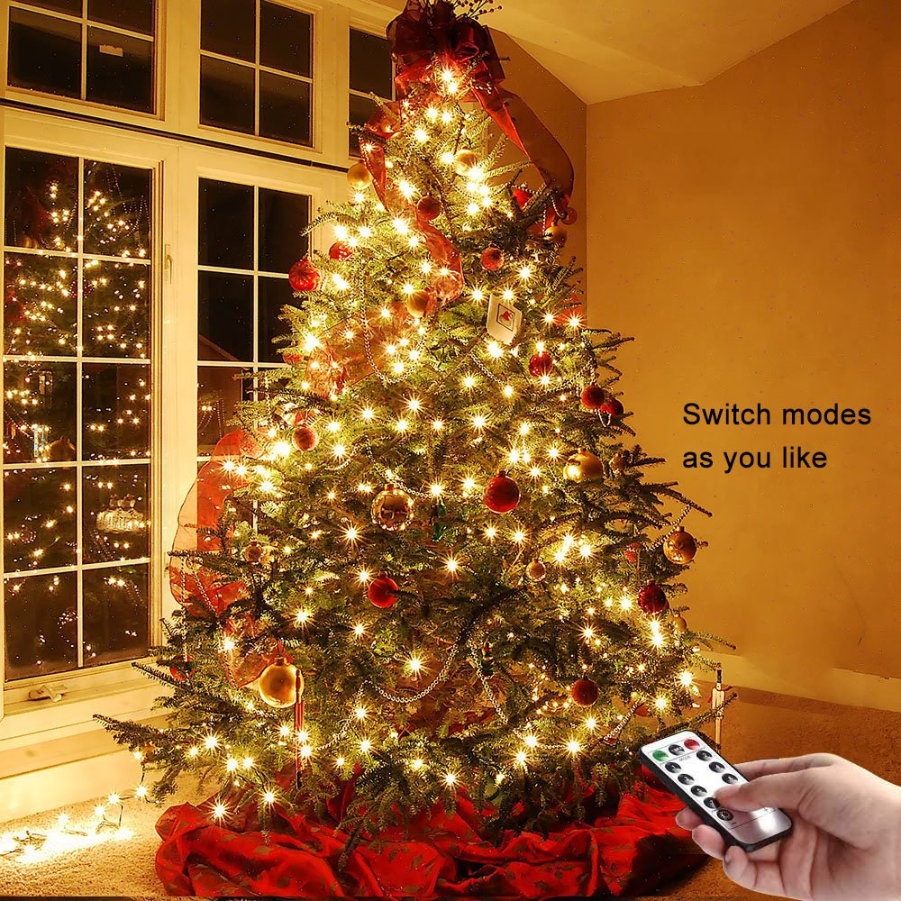 LED Battery String Lights with Remote Control,100 LED 33ft Waterproof Outdoor Lights, for Home Decor Indoor Copper Wire Warm Lights by Voneta (Image #7)