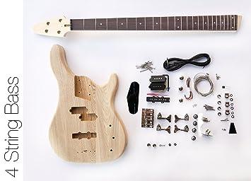DIY Kit de guitarra eléctrica Bass - 4 cuerdas graves de fresno: Amazon.es: Instrumentos musicales