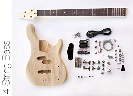 DIY Kit de guitarra eléctrica Bass – 4 cuerdas graves de fresno