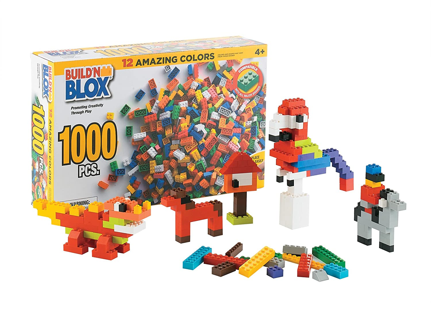 578e33269715a2 Build n Blox Creative Building Blocks Bulk Pack - Educational Classic Build  Learning Toys Kids - 12 Colors 14 Different Shapes - Gift Birthday Holidays  ...
