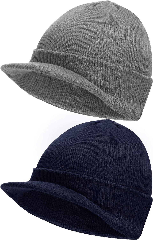 Azul Marino, Gris Claro, 2 Piezas Gorro de Punto de Invierno de Hombre con Visera Gorro Grueso C/álido para Exterior