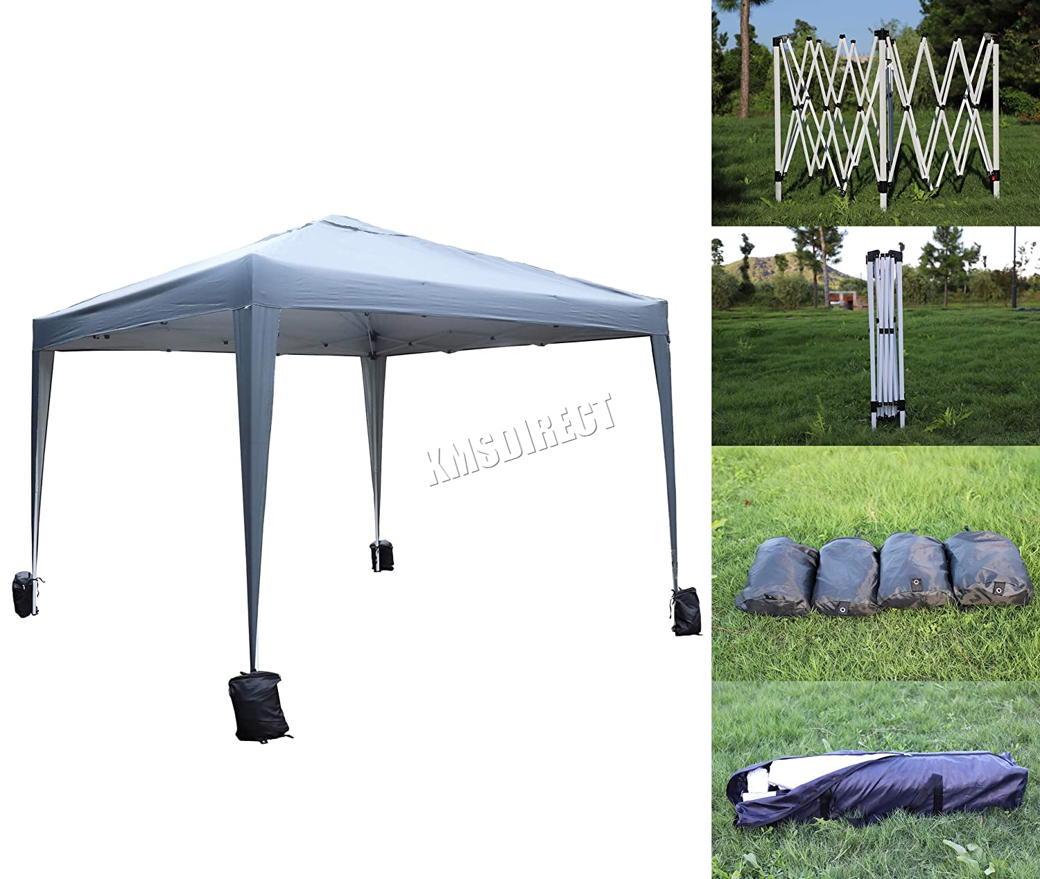 FoxHunter Waterproof 3m x 3m Pop Up Gazebo No Sidewalls Marquee Garden Awning Party Tent Canopy 300D Polyester Powder Coated Steel Frame 4 Weight Bags PUG02 Grey KMS