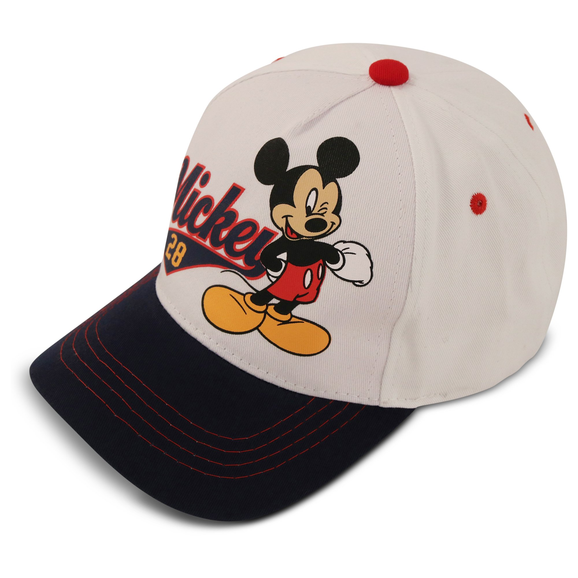 Disney Little Boys Mickey Mouse Cotton Baseball Cap, White/Navy, Age 4-7
