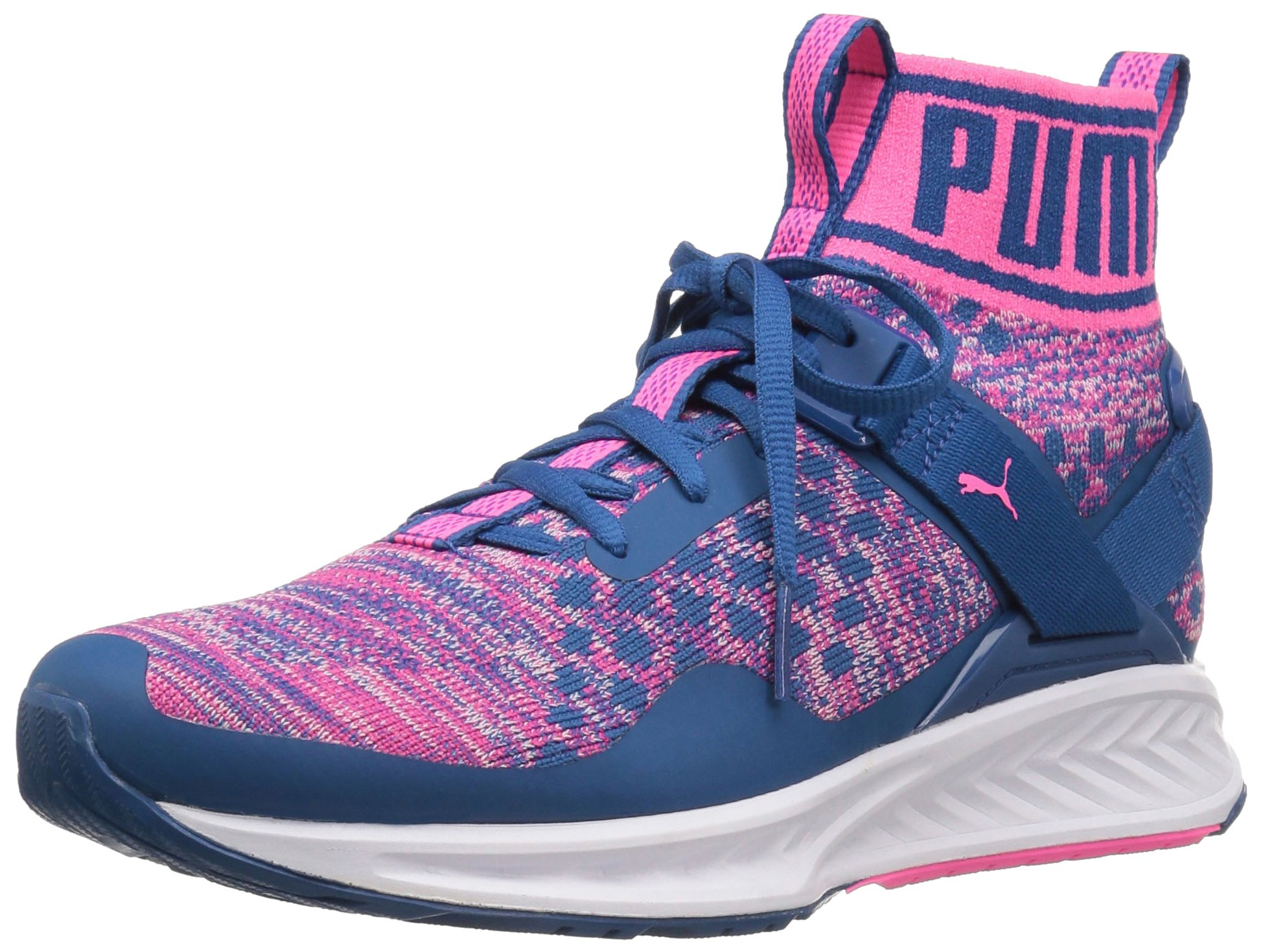PUMA Women's Ignite Evoknit Wn's Cross-Trainer Shoe, True Blue-Knockout Pink White, 9.5 M US