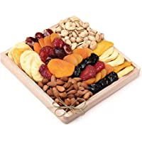 Milliard Dried Fruit & Nut Deluxe Gift Platter Arrangement on Wood Tray for Occasions including New Years, Valentines…