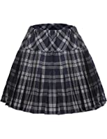 Zeela Women's Houndstooth Elastic Tartan Pleated Skater School High Waist Skirts