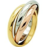 RUSSIAN WEDDING BAND RING ROSE UNISEX INTERLOCKING STAINLESS STEEL WITH SUAY GIFT POUCH