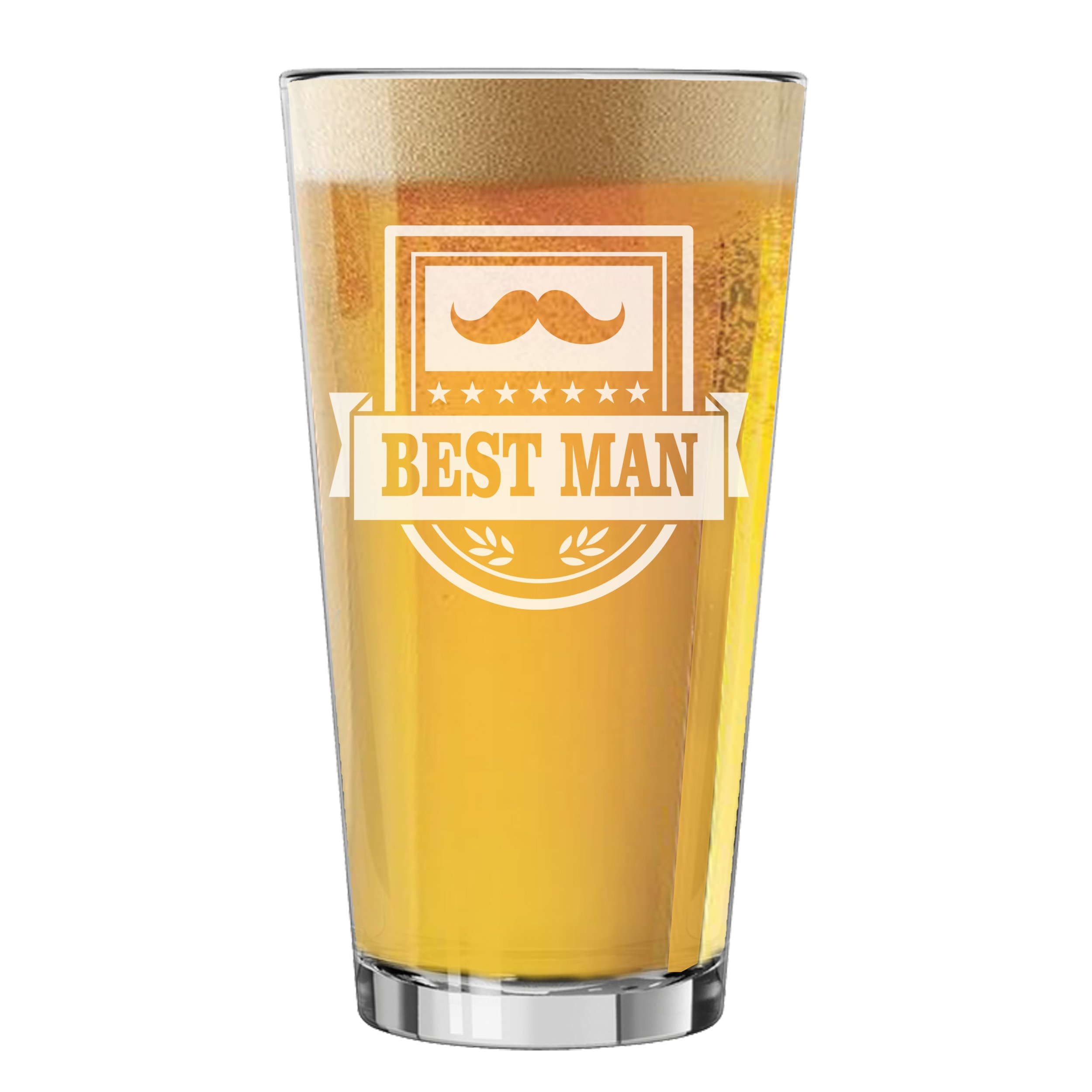 Pint Glasses for Bachelor Party, Weddings, Wedding Favors, Beer Gifts (Badge Style 16oz, Best Man Glass)