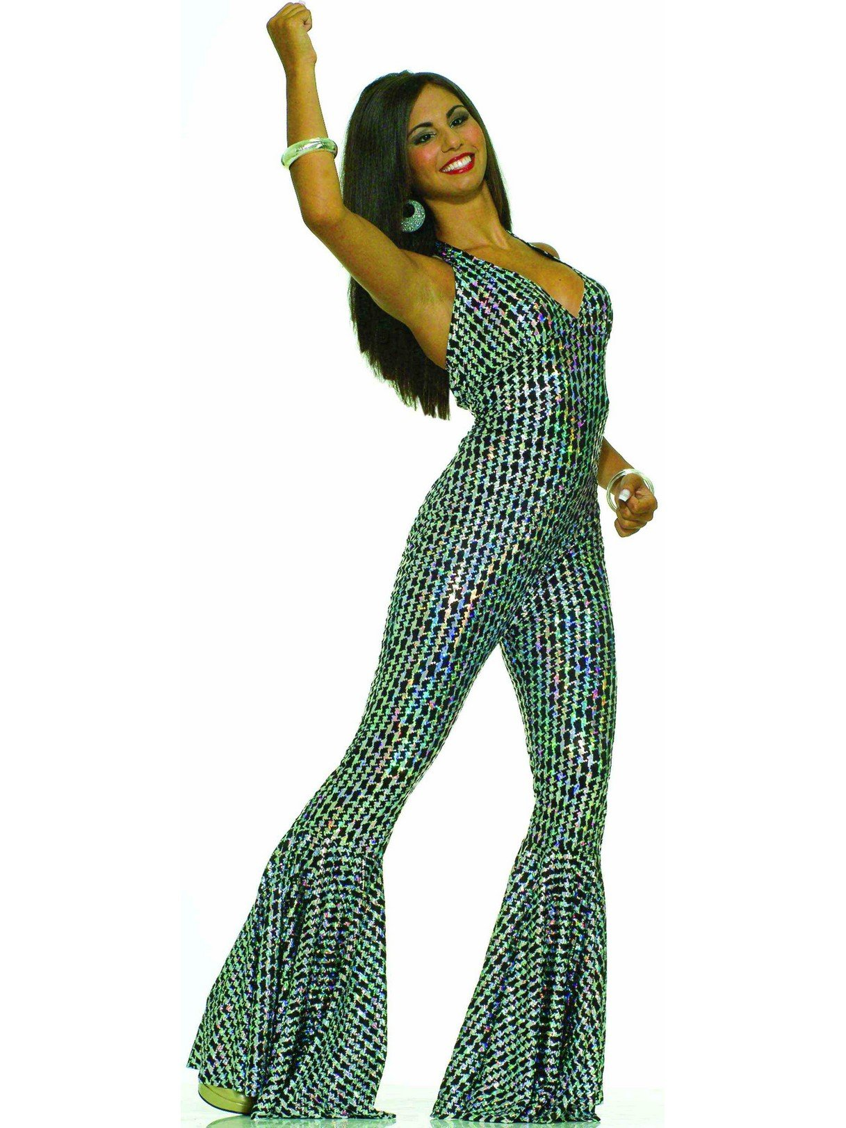 Forum Novelties Women's Boogie Dancing Babe 70's Costume, Silver/Black, X-Small/Small