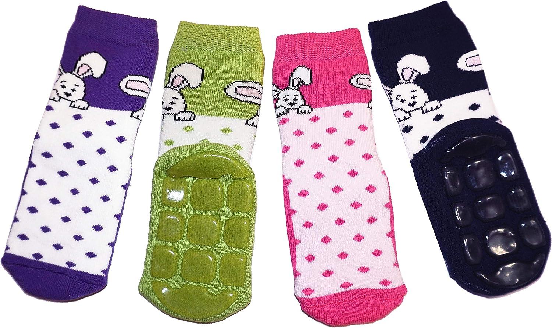 Weri Spezials Baby und Kinder Voll-ABS Socke Hase+Punkte Motiv in Rosa