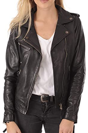 Amazon.com: Chaqueta de piel de cordero para mujer ...