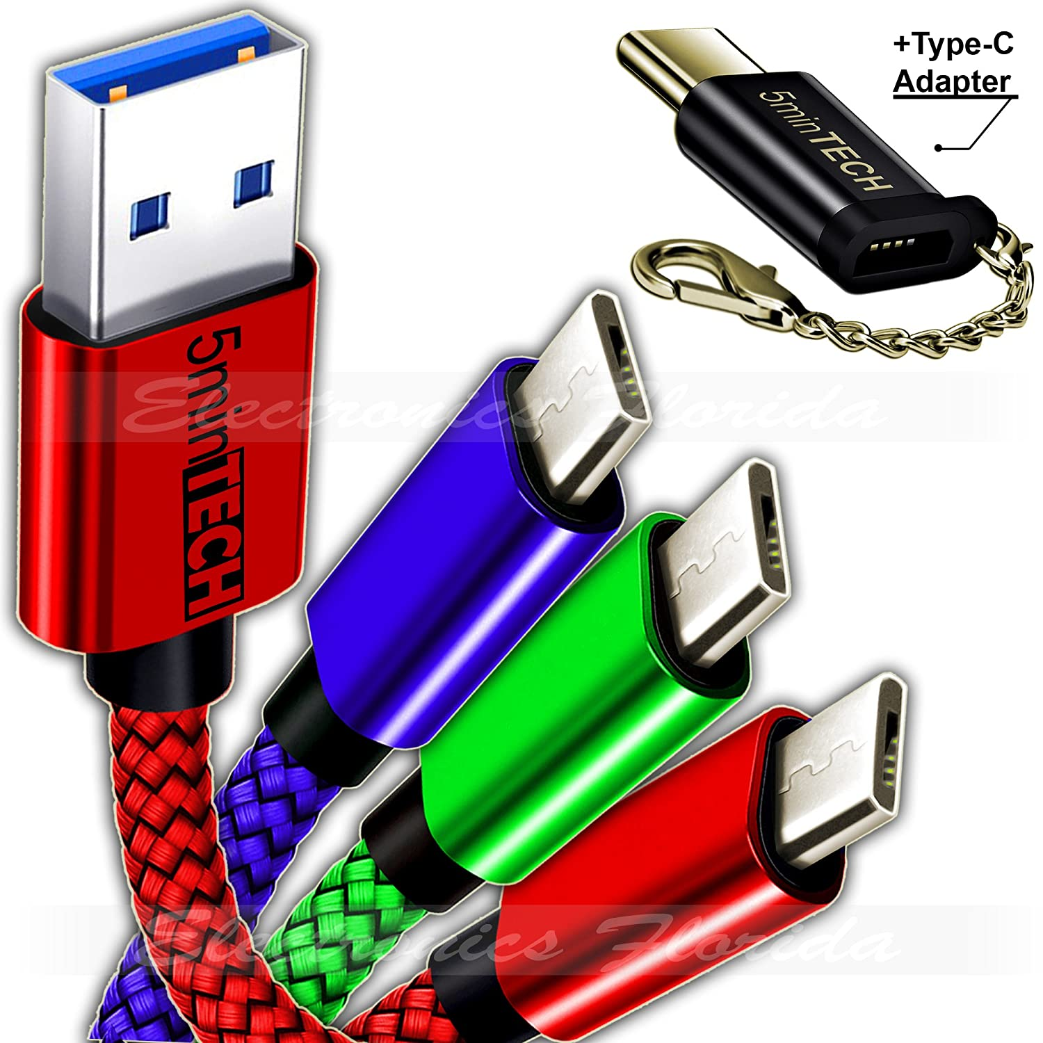 [3 pack] of USB Braided Cable + Type C Adapter (Data Sync Charger Charging Cord) (Blue,Green,Red, 15FT)