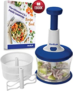 3 in 1 Food Chopper by StarBlue with FREE 50 Recipes eBook - All in one Kitchen Processor help you in Chopping, Slicing, Mixing, Grinding, Drying