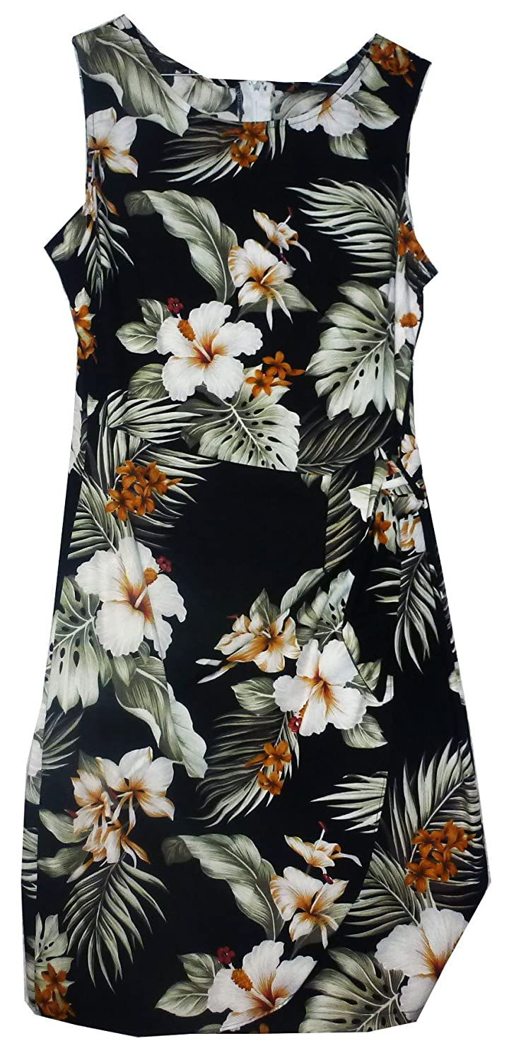 Pacific Legend | Original Hawaiikleid | Damen | S - XXL | Sommer | Hawaii-Print | Blumen | Schwarz