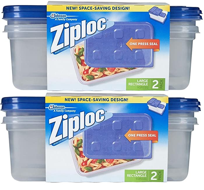 Ziploc Container Large Rectangle, 9 cup Containers (4ct)