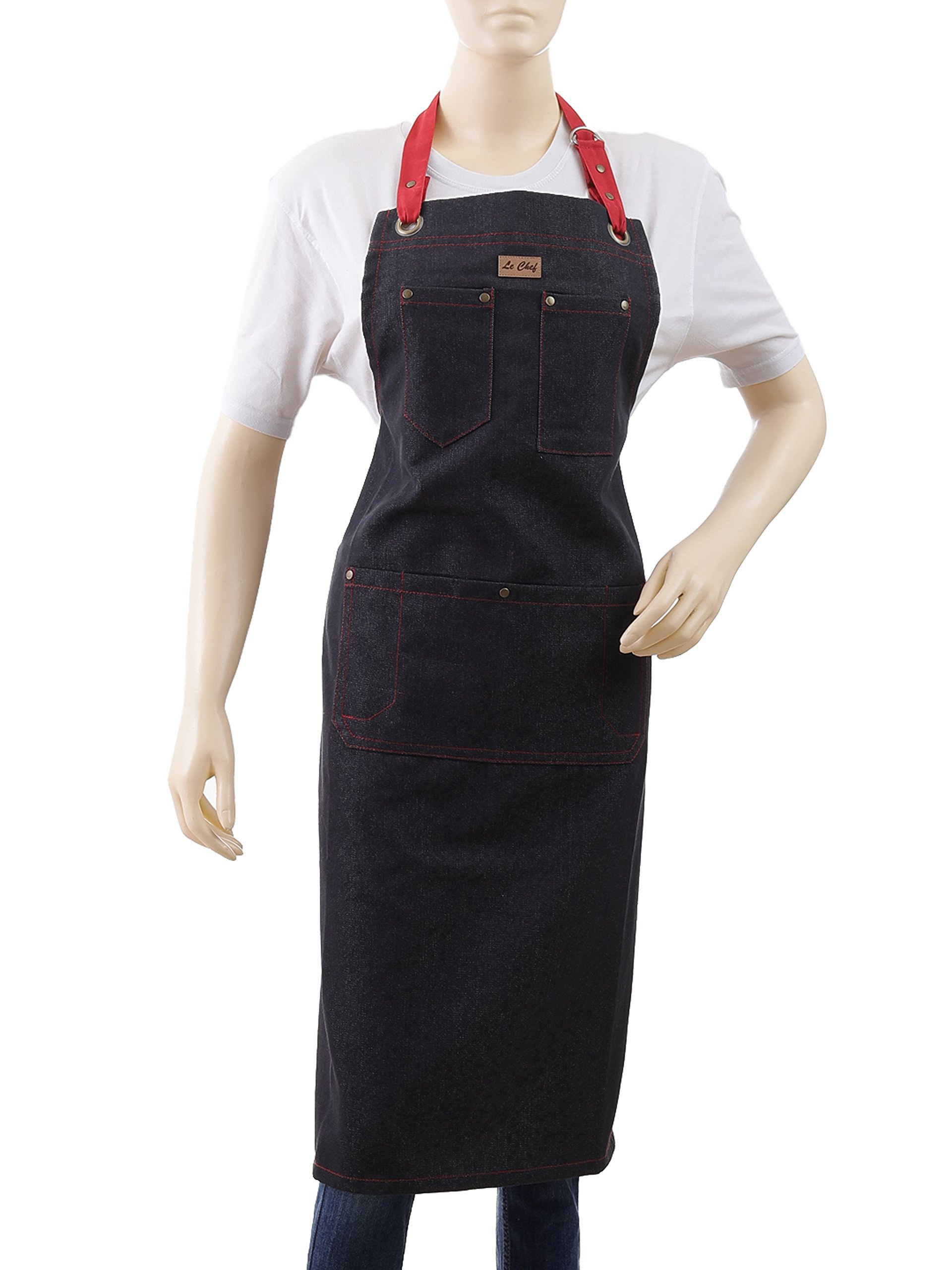 Denim Apron for Women & Men, Kitchen Apron With Top & Centre Pockets, 27 X 32 Inch, Adjustable Red Ties With Snap Buttons & Denim Stitch