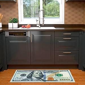 Sweet Home Stores $100 Dollar Bill Runner Rug, 22