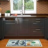 "Sweet Home Stores Siesta Collection Hundred Dollar Bill Design Runner Rug, 22"" X 53', Green Multicolor"