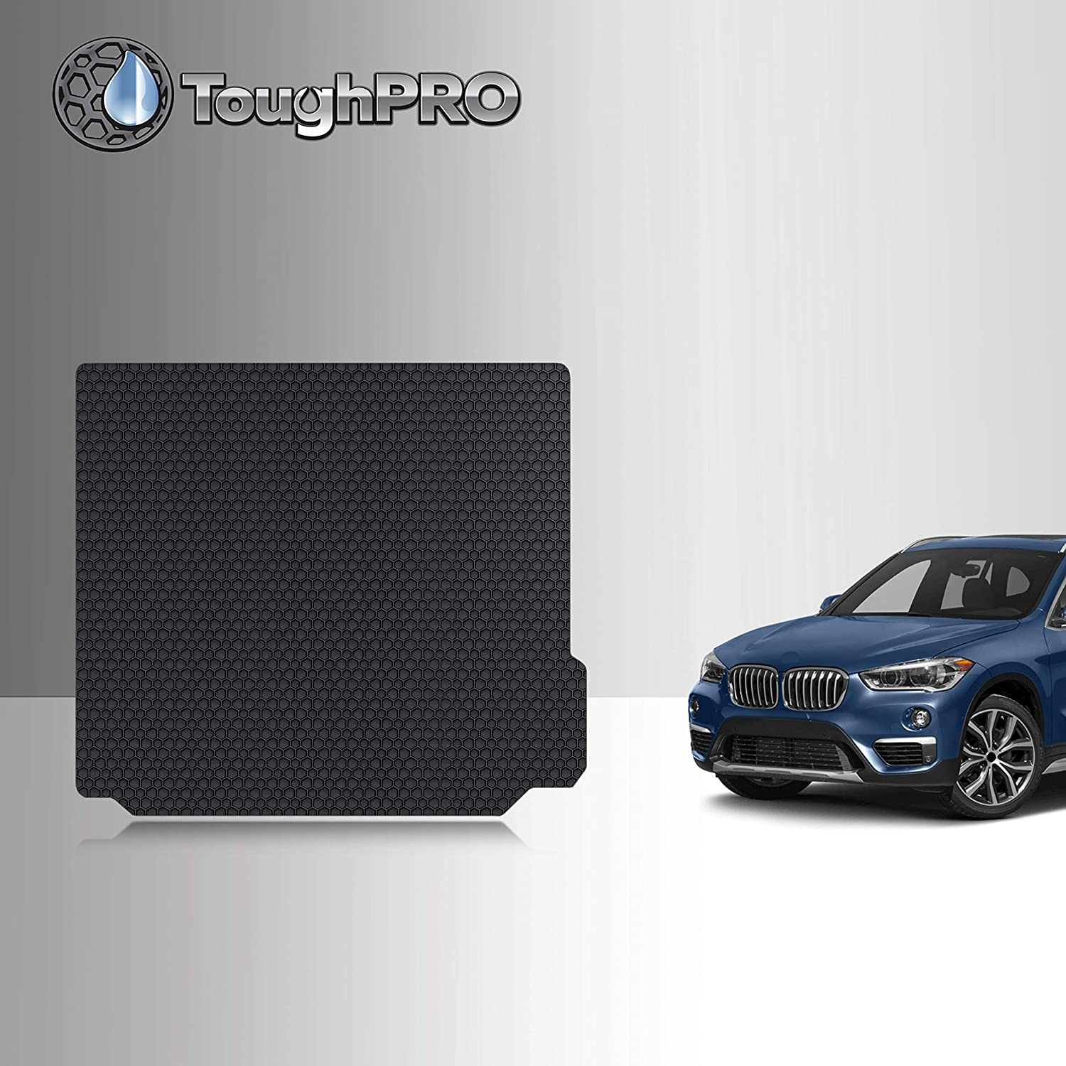 TOUGHPRO Cargo/Trunk Mat Accessories Compatible with BMW X3 - with Cargo Tie Down Rails - All Weather - Heavy Duty - (Made in USA) - Black Rubber - 2018, 2019, 2020