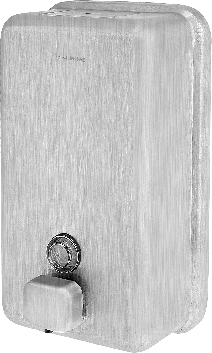 Alpine Industries Manual Stainless Steel Liquid Soap Dispenser, Vertical – 40oz Capacity - Rust Proof Wall Mounted Commercial Handsoap Holder for Office Home & Hotel