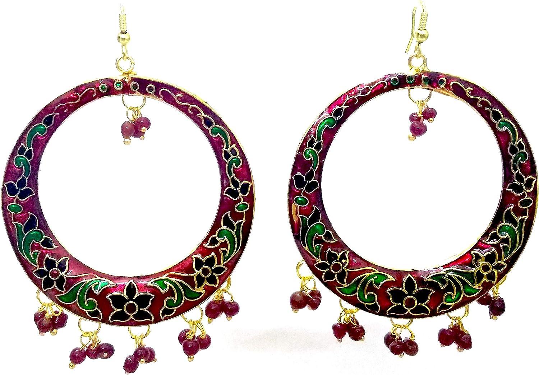 DESI HAWKER Big Hoop Meenakari Minakari Enamel Paint Golden Handmade Earring Bali Jhumki Jhumka Jewelry Ethnic Drop Dangle Chandbali NI-281