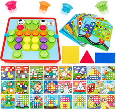 72 PCS Buttons and 24 templates JoyGrow 2 in 1 Button Art Color Matching Mosaic Pegboard Set Toddler Toys Color /& Geometry Shape Cognition Skill Learning Educational Toys for Boys Girls
