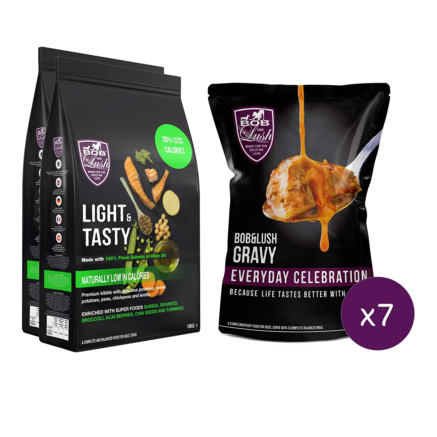 20kg Bob & Lush Light & Tasty Weight Management Natural Dog Food (Scrumptious Salmon with without Gravy, 20kg)