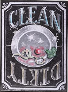 "Magnetic Clean Dirty Dishwasher Sign Primitives by Kathy 4"" x 3"" Chalk Magnet"