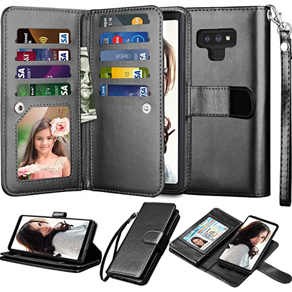 size 40 6cdca 4f4d9 Njjex for Galaxy Note 9 Wallet Case, for Note 9 Case, Luxury PU Leather [9  Card Slots] ID Credit Folio Flip Cover [Detachable][Kickstand] Magnetic ...